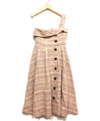 eimy istoire(エイミー イストワール)の古着「チェックツイードワンショルダーワンピース」|ピンク