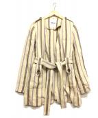 mici(ミディ)の古着「ストライプトッパーコート」|ベージュ