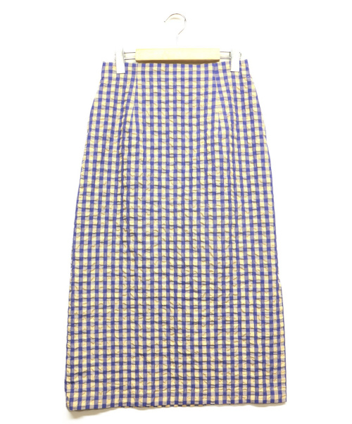 JOURNAL STANDARD(ジャーナルスタンダード)JOURNAL STANDARD (ジャーナルスタンダード) マトラッセギンガムタイトスカート ベージュ×ブルー サイズ:38の古着・服飾アイテム