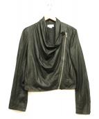 HELMUT LANG(ヘルムートラング)の古着「斜めジップラムレザージャケット」|ブラック