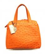 ノーブランド(ノーブランド)の古着「オーストリッチハンドバッグ」 オレンジ