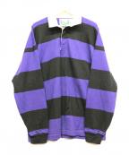 BEAMS BOY(ビームスボーイ)の古着「ラガーシャツ」|ブラック×パープル