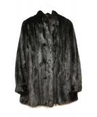 ノーブランド(ノーブランド)の古着「ミンクコート」|ブラック