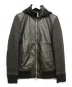 INTERMEZZO(インターメッツォ)の古着「ニット切替レザージャケット」|ブラック