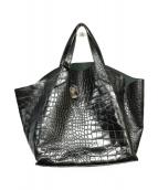 FURLA(フルラ)の古着「型押しハンドバッグ」|ブラック