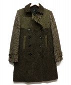 Paul Smith BLACK(ポールスミスブラック)の古着「マルチパターンダブルコート」|グリーン×ベージュ