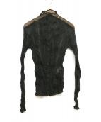 ISSEY MIYAKE FETE(イッセイミヤケ フェット)の古着「プリーツハイネックシアーブラウス」|ブラック