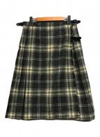 JAMES PRINGLE(ジェームスプリングル)の古着「ウールチェックラップスカート」|グレー×グリーン