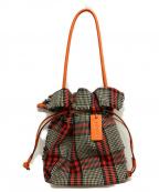 PotioR(ポティオール)の古着「チェック巾着バッグ」|ネイビー×レッド