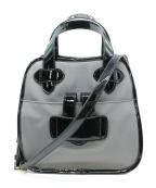 TILA MARCH(ティラマーチ)の古着「エナメルコンビ2WAYバッグ」 ブラック×グレー