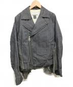 FACETASM(ファセッタズム)の古着「フリルデザインデニムライダース」|ネイビー