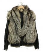 SAGA FOX(サガフォックス)の古着「ミンクコンビレザージャケット」|ブラック