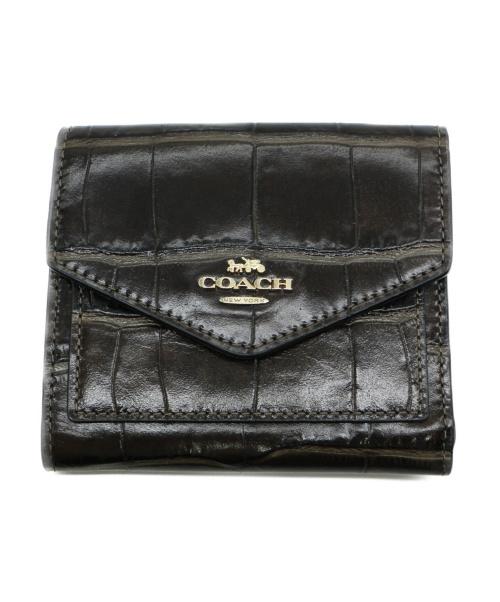 COACH(コーチ)COACH (コーチ) クロコ型押し財布 ブラウンの古着・服飾アイテム