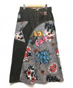 OLLEBOREBLA(アルベロベロ)の古着「リメイクデニムスカート」 ブラック