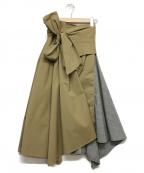 FRAY ID(フレイアイディー)の古着「タックアシメヘムスカート」 カーキ