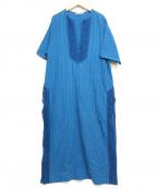 SOULEIADO(ソレイアード)の古着「ダイレースコンビカフタンワンピース」|ブルー