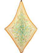 HERMES()の古着「プリーツスカーフ」 オレンジ×ホワイト