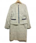 HANAE MORI(ハナエモリ)の古着「セットアップスカートスーツ」 アイボリー×ブルー