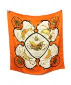 HERMES(エルメス)の古着「カレ90」|ホワイト×オレンジ