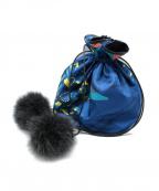 manipuri(マニプリ)の古着「ファー付ドロストバッグ」 ブルー
