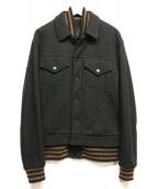 ()の古着「メルトンレイヤードスタジャン」|ブラック