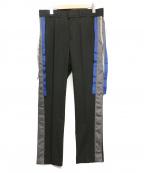ALMOSTBLACK(オールモストブラック)の古着「サイドデザインスラックス」 ブラック