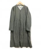 Samansa Mos2(サマンサモスモス)の古着「リネン混ワンピース」|ダークグレー