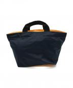 Herve Chapelier(エルベシャプリエ)の古着「舟形トートバッグ」 ネイビー×ネオンオレンジ