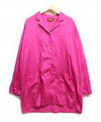 KENZO(ケンゾー)の古着「開襟刺繍シャツ」|ショッキングピンク