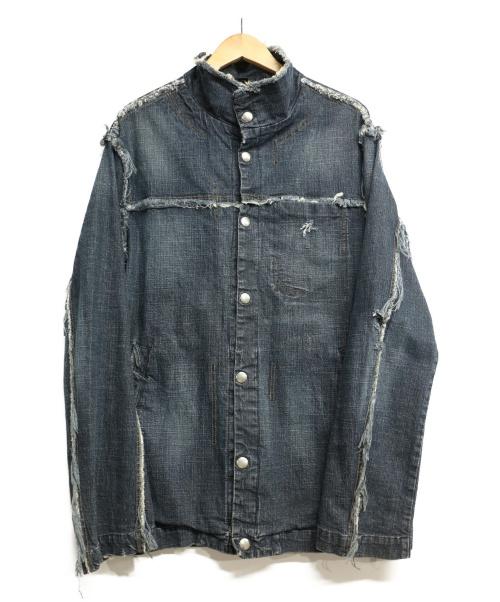 DIESEL(ディーゼル)DIESEL (ディーゼル) デザインデニムジャケット インディゴ サイズ:Lの古着・服飾アイテム