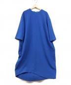 ENFLOD(エンフォルド)の古着「ダブルクロスコクーンワンピース」|ブルー