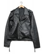 FREEDOM(フリーダム)の古着「バッファローレザーライダースジャケット」|ブラック