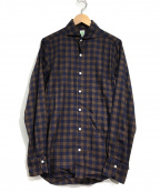 finamore(フィナモレ)の古着「ホリゾンタルカラーシャツ」 ネイビー×ブラウン