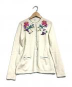 LEONARD SPORT(レオナールスポーツ)の古着「刺繍ニットカーディガン」|アイボリー