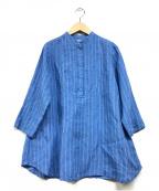 fog linen work(フォグリネンワーク)の古着「プルオーバーリネンブラウス」 ブルー