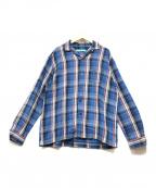 MUZE(ミューズ)の古着「Cotton twill check Oversized S」 ブルー