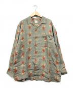 PAPAS(パパス)の古着「リネン総柄シャツ」 グレー