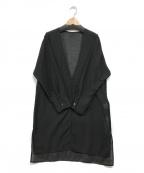 COLLAGE GALLARDAGALANTE(コラージュ ガリャルダガランテ)の古着「シアーノーカラーロングシャツ」|ブラック
