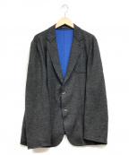 ARMANI COLLEZIONI(アルマーニ コレツィオーニ)の古着「ニットテーラードジャケット」 ブラック×ブルー