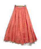 BEAMS(ビームス)の古着「リネンマキシギャザースカート」 ピンク