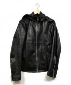 EDIFICE(エディフィス)の古着「フード付ライダースジャケット」 ブラック