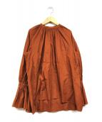 ()の古着「シャーリングブラウス」 ブラウン