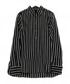 LAUREN RALPH LAUREN(ローレンラルフローレン)の古着「ストライプシャツ」|ブラック