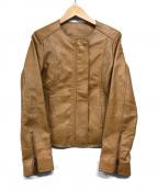 もりのがっこう(モリノガッコウ)の古着「ラムレザーノーカラージャケット」|ブラウン