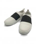 ECCO(エコー)の古着「スリッポントレーナー」 ホワイト×ブラック