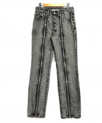 JOHN LAWRENCE SULLIVAN(ジョンローレンスサリバン)の古着「Zipped Denim Pants」 グレー