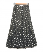 Snidel(スナイデル)の古着「ヘムフレアプリントスカート」|ブラック