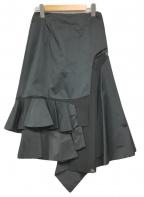 TOGA ARCHIVES(トーガアーカイブス)の古着「Taffeta Asymmetry Skiirt」 ブラック