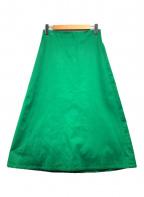 IENA(イエナ)の古着「コンパクトサテントラペーズスカート」|グリーン