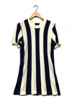 Martin Margiela 10()の古着「ストライプ半袖ニット」|ホワイト×ブルー
